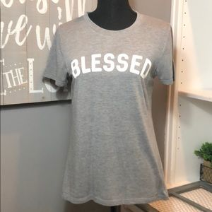 🙏🏻 Blessed logo T-shirt, poly/rayon material